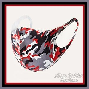 Face Mask Camo Print Red Black Stretchy Straps